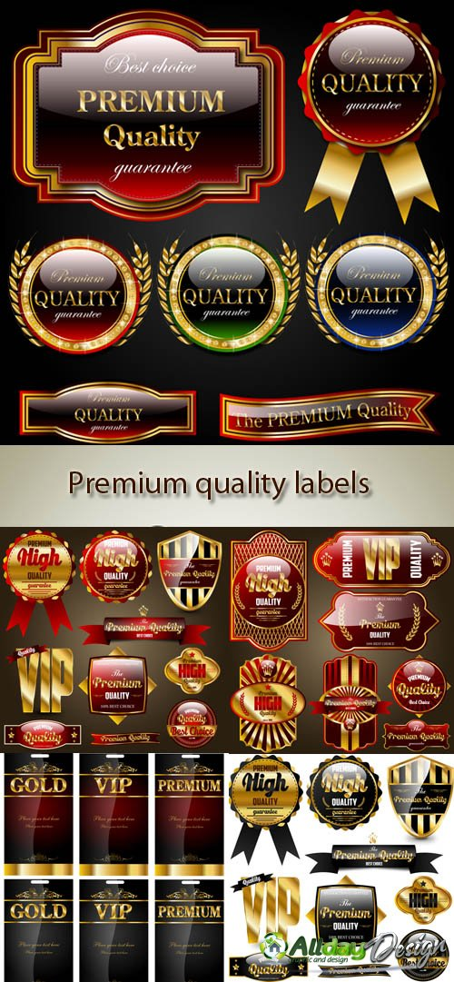 Vector Premium quality labels and ribbons
