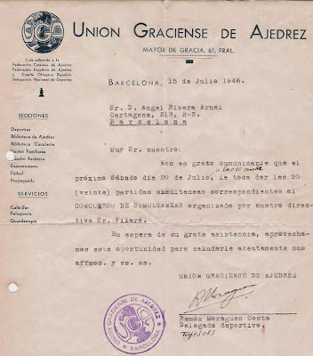 Notificación de la Union Graciense de Ajedrez en 1946