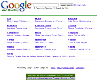 google directory 2001 Goodbye, Google Directory