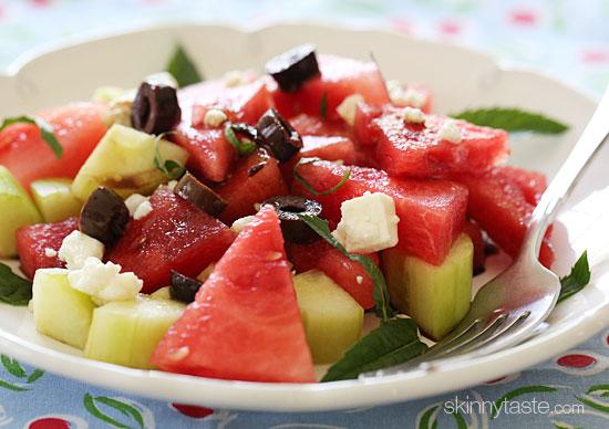 Chilled Watermelon Cucumber Feta Salad   Skinnytaste