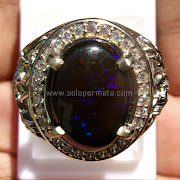 Cincin Batu Permata Black Opal Kalimaya - SP741