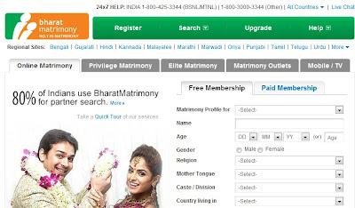 Bharat Matrimony homepage