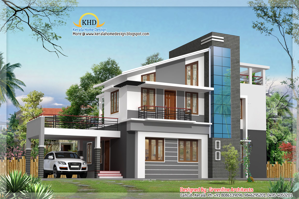 Modern duplex villa elevation 1925 sq ft for Modern square house plans