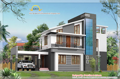 Modern Duplex Villa Elevation - 1925 Sq. Ft - Kerala home design ...