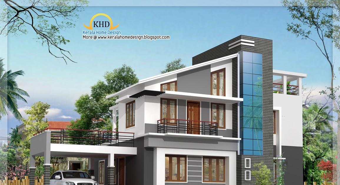 Modern duplex villa elevation 1925 sq ft kerala home for Modern duplex elevation