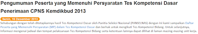 Pengumuman Hasil Kelulusan TKD CPNS Kemendikbud 2013