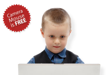 Camera Mouse is FREE. Young boy controlling the mouse on his computer using his head alone.