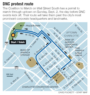 Image of Uptown Charlotte's main DNC area with circular path for protesters