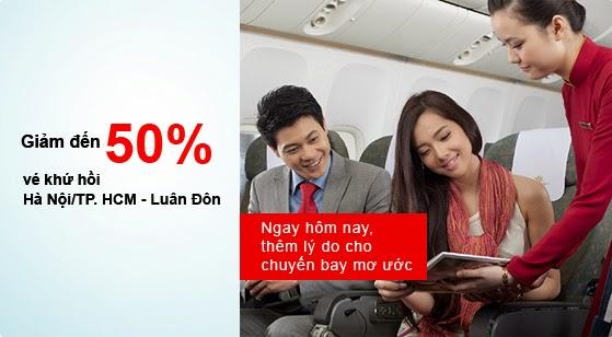 Vietnam Airlines - Giảm đến 50% vé khứ hồi Hà Nội/TP. HCM - Luân Đôn