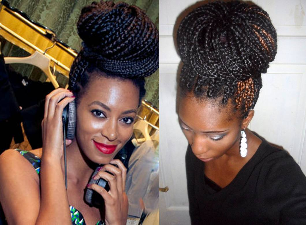 Crochet Box Braids Bun : Solange Knowles Inspired braided bun