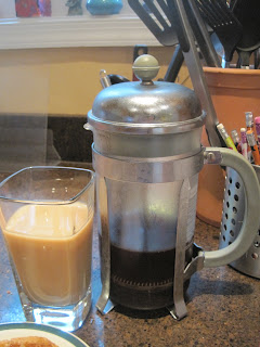 Iced coffee and French press