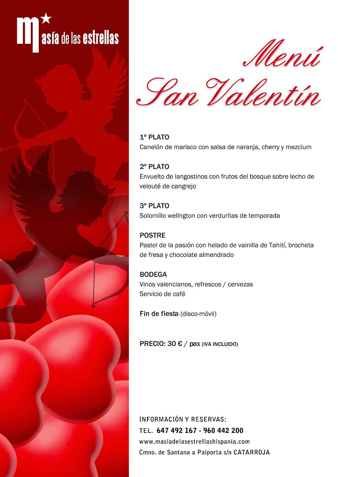 Gastronomia Hispania: Menú San Valentín 2013 en Masía de las Estrellas