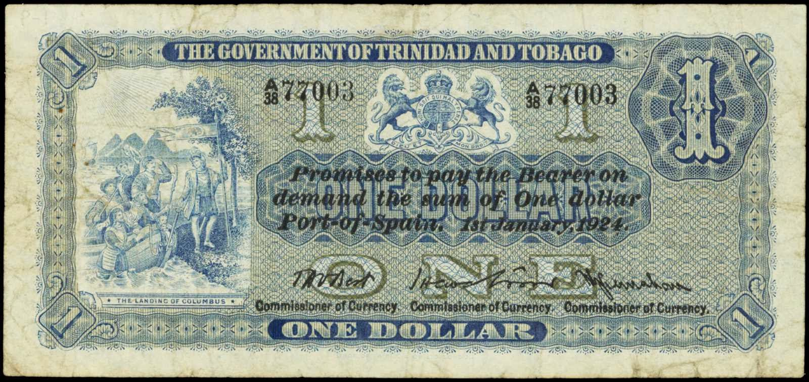 worksheet Trinidad Currency trinidad and tobago one dollar banknote 1924world banknotes 1924