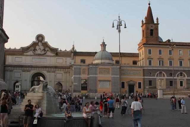 Egyptian Lion statue at Piazza del Popolo in Rome, Italy