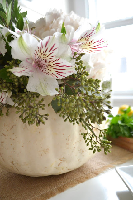 pumpkin flower centerpiece DIY from paper{whites}