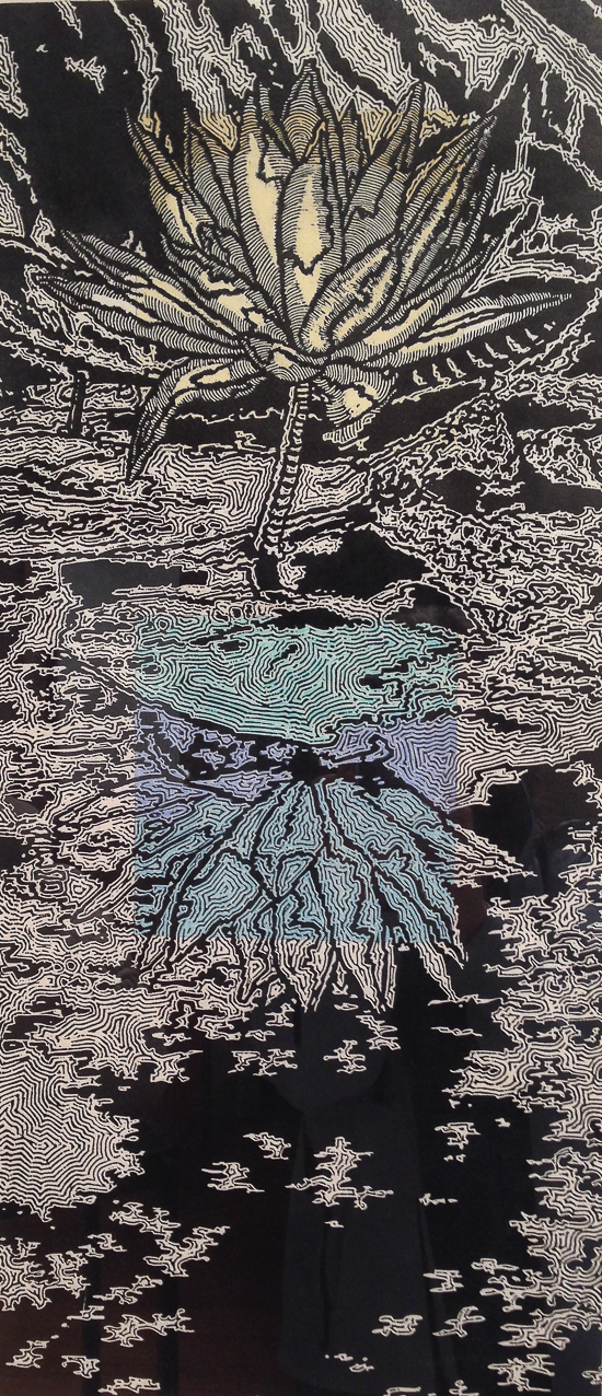 In his woodcut Water Lily, Dale Enochs uses energetic marks similar to those he uses on his limestone sculptures.