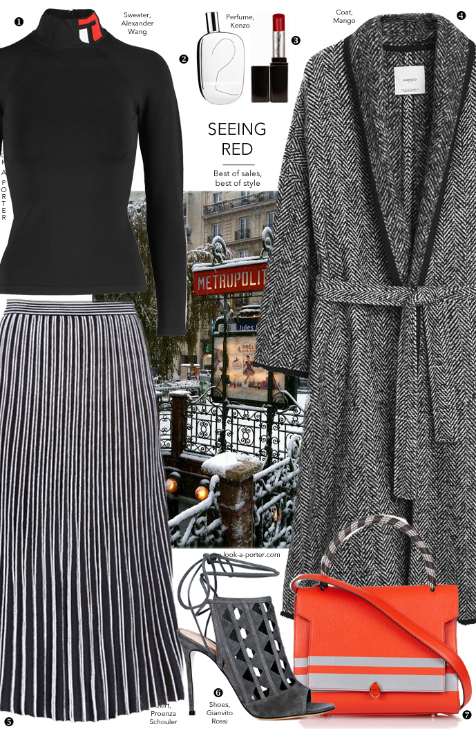 Styling black, grey and red outfit with a midi pleated skirt via www.look-a-porter.com style & fashion blog