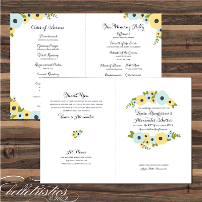 hand drawn floral printable diy wedding ceremony program booklet