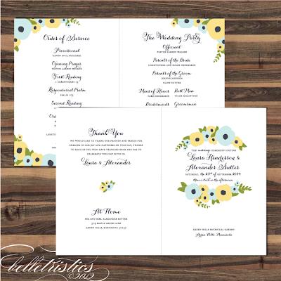 hand drawn floral printable diy wedding ceremony program booklet