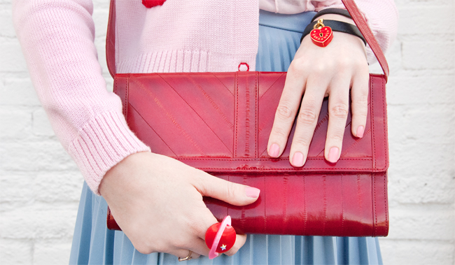 becksöndergaard, eel leather bag, red clutch