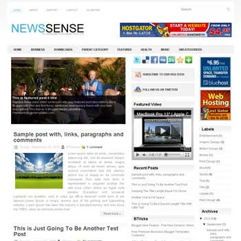 NewsSense blog template. template image slider blog. magazine blogger template style. wordpress theme to blogger. template video blog template. template business for blogger blog