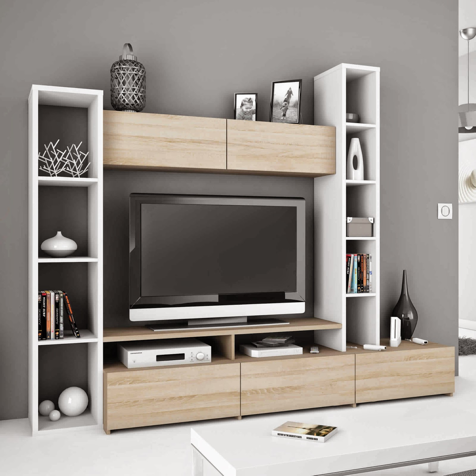 meuble tv avec colonne de rangement solutions pour la. Black Bedroom Furniture Sets. Home Design Ideas