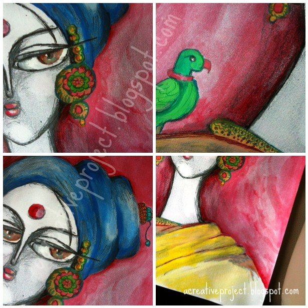 Indian paintings, buy Indian art, Indian women with a parrot, Indian contemporary art