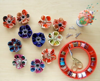 How To Make Japanese  Kanzashi  Style Flower Brooches
