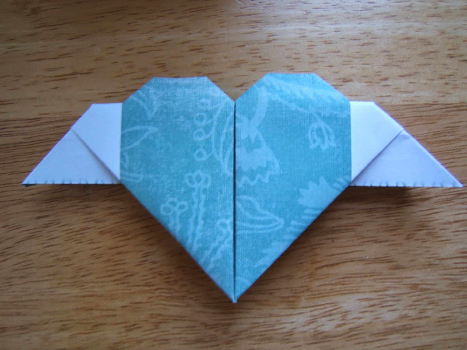origami heart with wings ~ easy paper craft for kids - photo#17