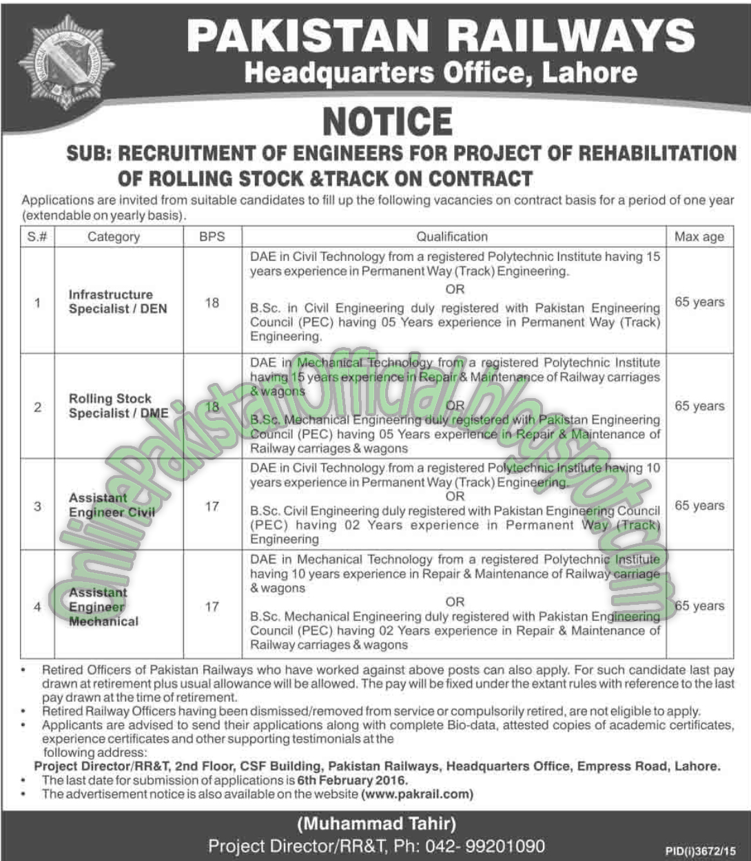Pakistan Railways 2016 Latest jobs in lahore