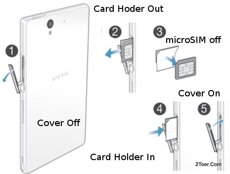 Remove microSIM card from Holder Slot Sony Xperia Z C6602 C6603