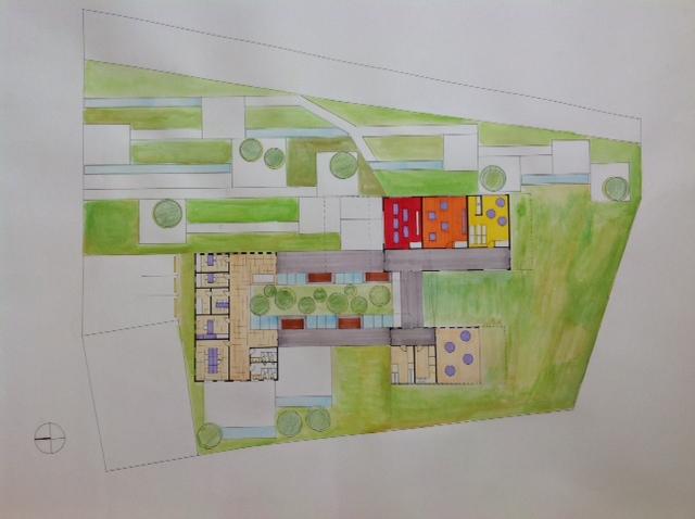 Diseno De Baños Para Guarderias:aquí podemos observar como el diseño de la guardería se combina con