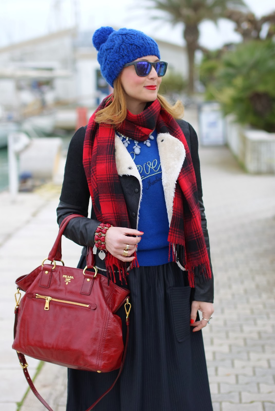 cobalt blue beanie, H&M plaid scarf, Ivivi jacket, Love Moschino sweater, pinstripe midi skirt, Fashion and Cookies, fashion blogger