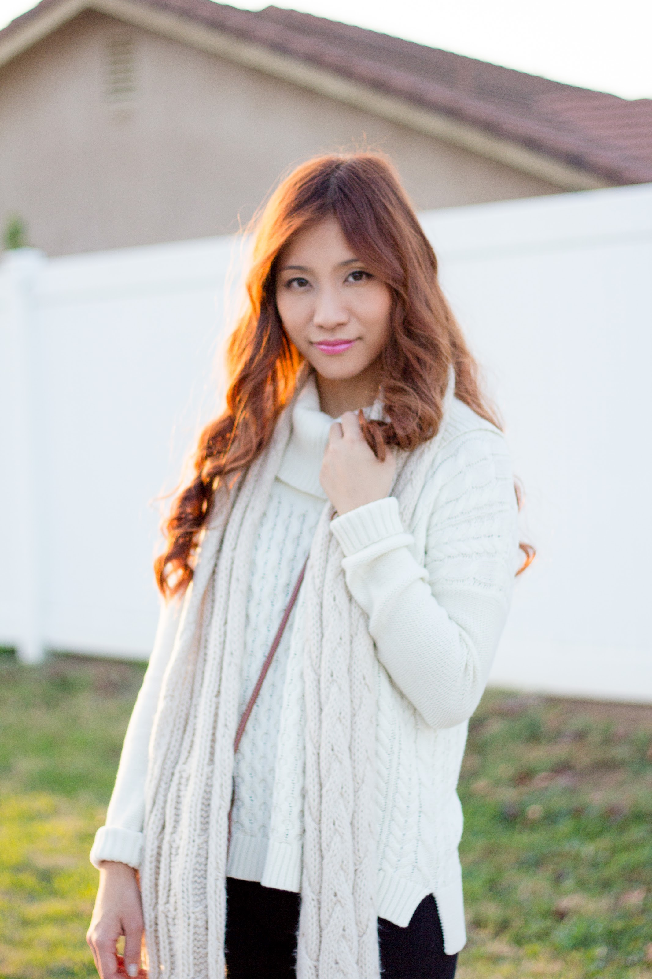Cable Knit Sweater and Scarf Ootd