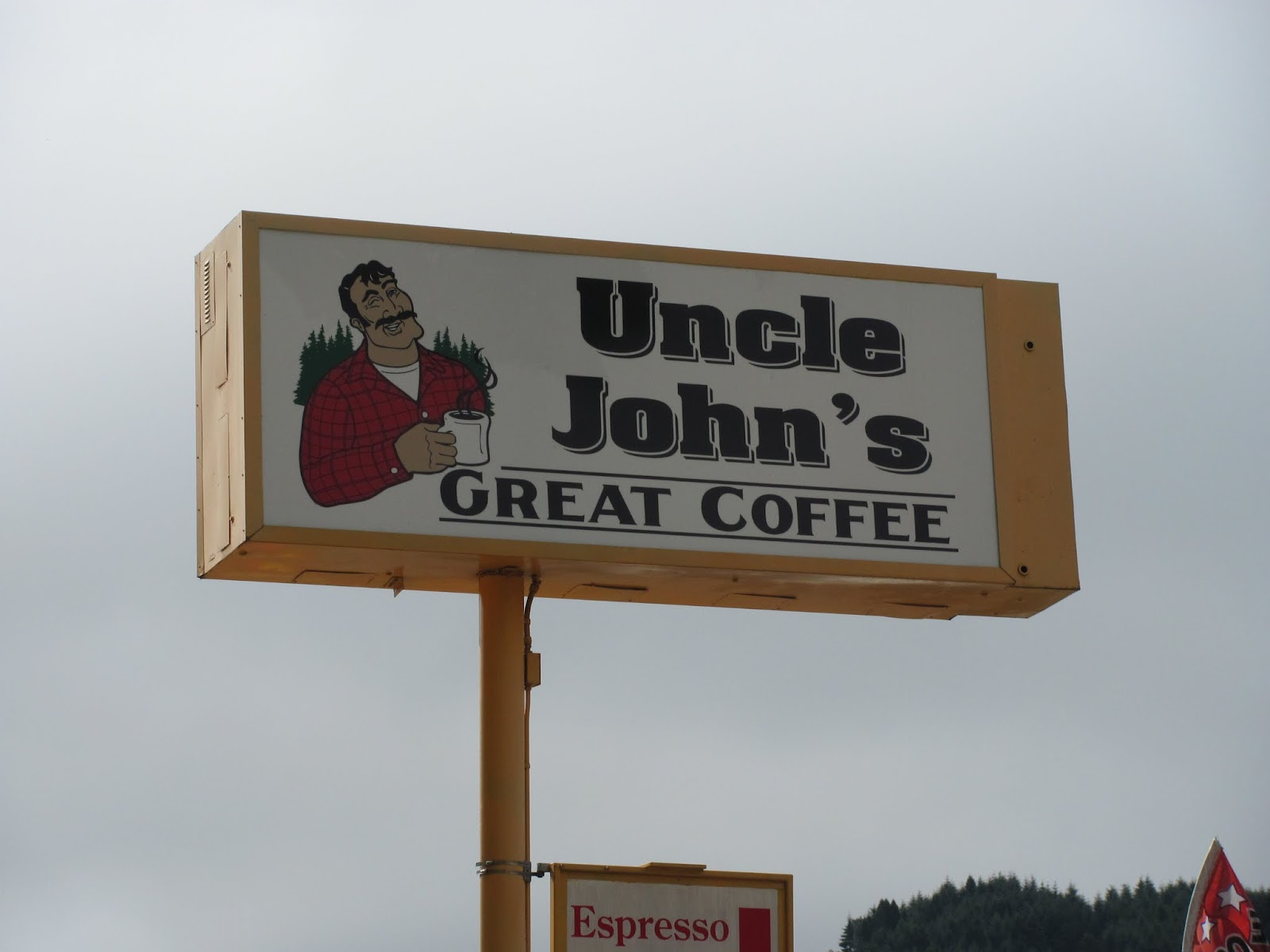 Stopping for coffee on our way out of town in Drain, Oregon