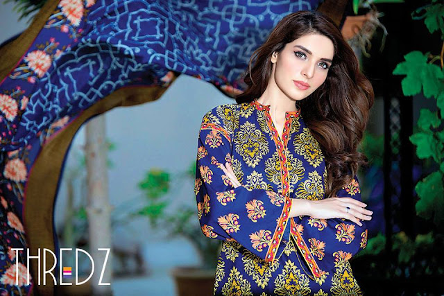 Thredz Autumn/Winter Unstitched Dresses 2016-2017 For Women