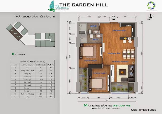 Căn A3, A4, A5 tầng 6 Garden Hill - 99 Trần Bình