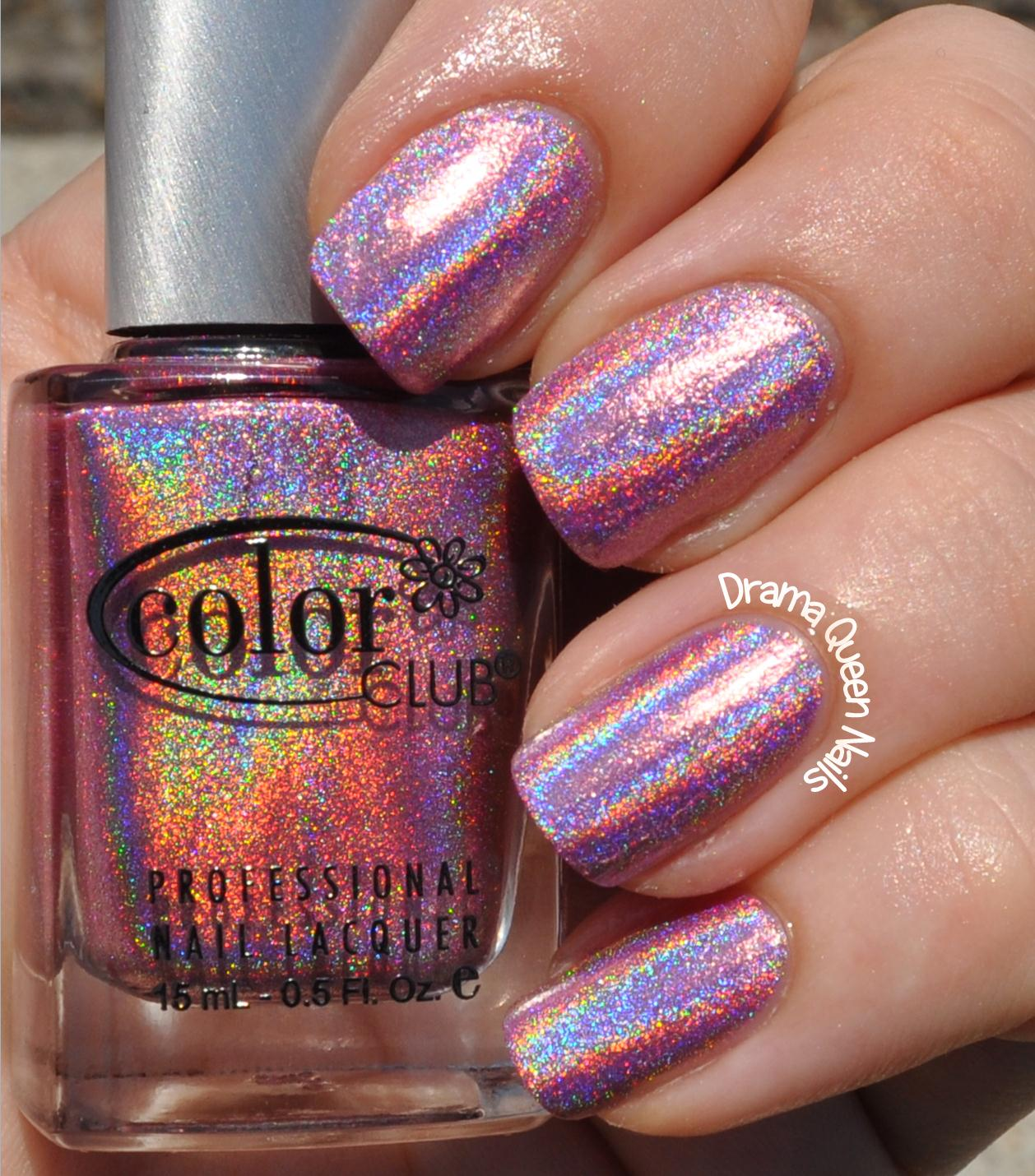 Color Club Holographic Nail Polish Swatches: Drama Queen Nails: Color Club Halo Hues Collection
