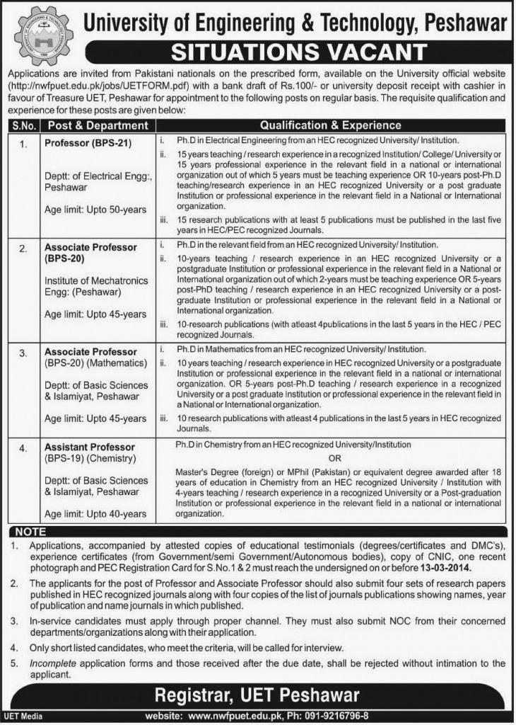 Professors Job Opportunities in University of Engineering & Technology, Peshawar