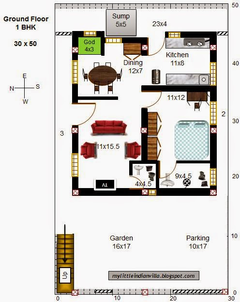 My little indian villa 46 r39 1bhk and 2bhk in 30x50 for 16x50 house plans