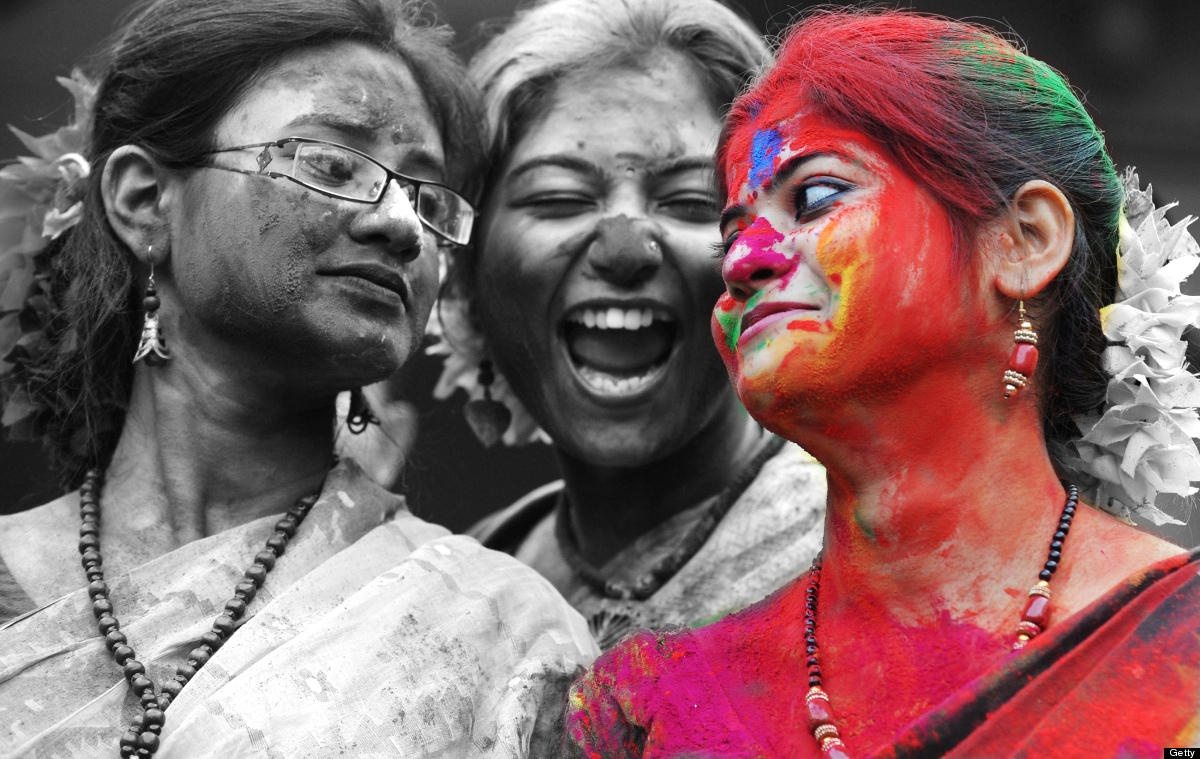 Indian Holi Festival black and white photography with color