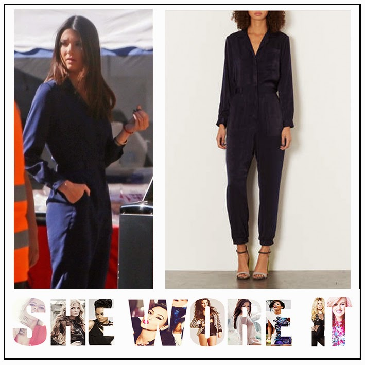 Keeping up with the Kardashians Kendall Jenner in Topshop Navy Blue Luxe Boiler Suit / Jumpsuit with Long Sleeves and Button Down Detail