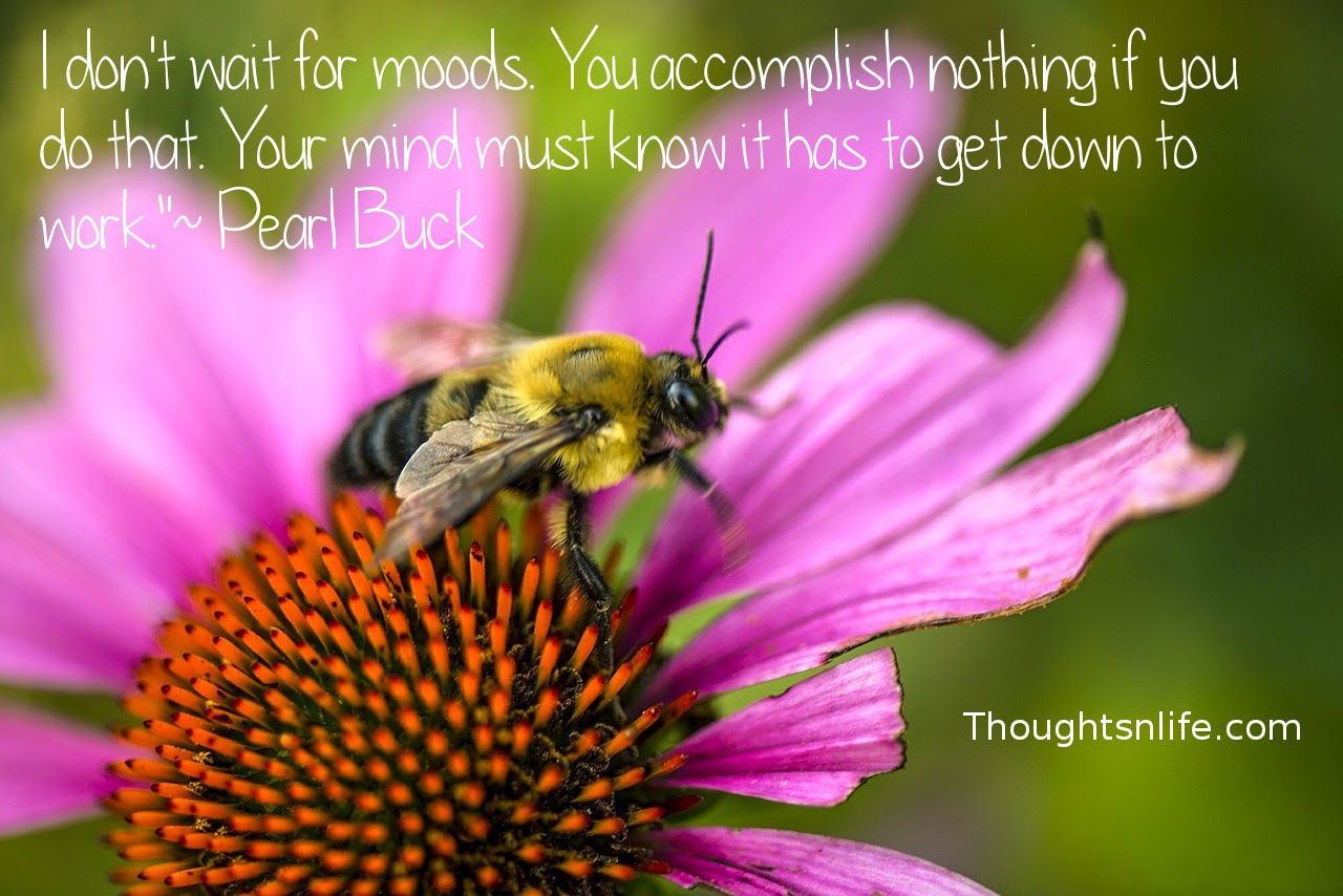"Thoughtsnlife.com: I don't wait for moods. You accomplish nothing if you do that. Your mind must know it has to get down to work.""  ~ Pearl Buck"