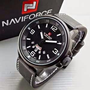 Naviforce 9028 Leather hitam putih