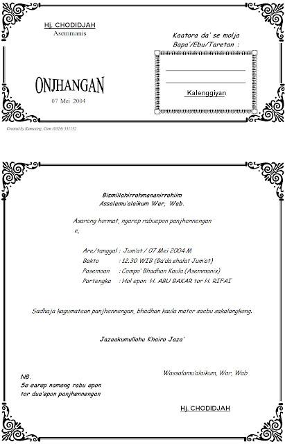 Download Contoh Undangan Dalam Bahasa Madura