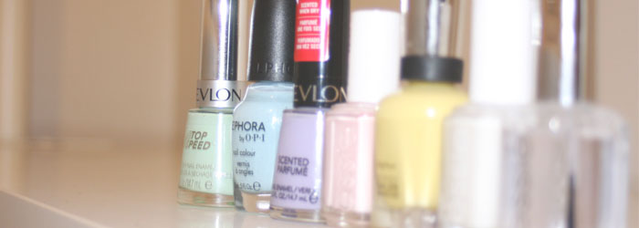 Revlon Jaded; Sephora by OPI Havana Dreams; Revlon Gum Drop; Essie Fiji; Sally Hansen Yellow Kitty; Essie Waltz; Essie Good To Go Topcoat