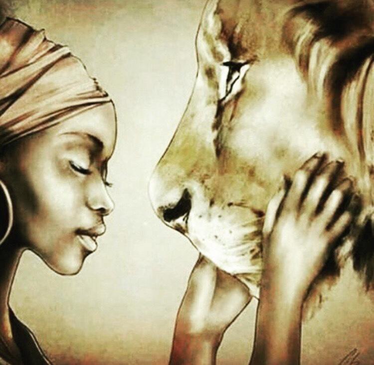 A feiticeira africana e o leão