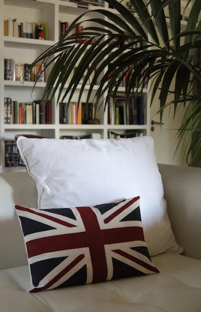 fabric painted union jack cushion