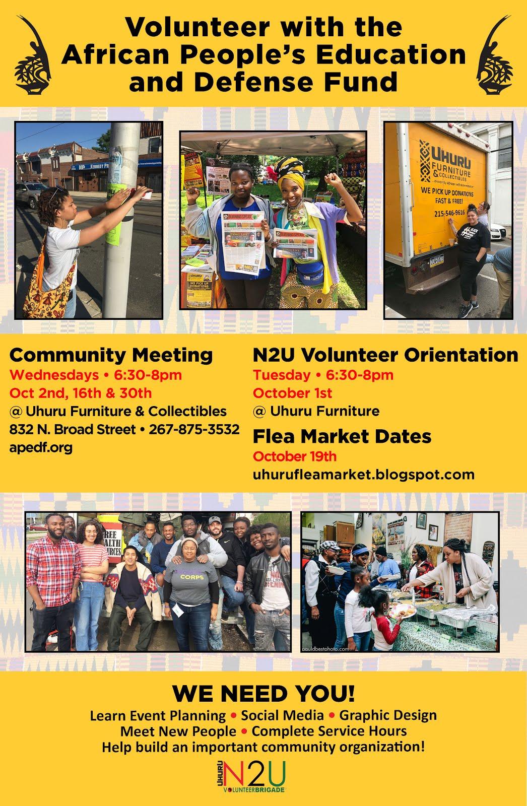 APEDF Community Meeting Schedule for October