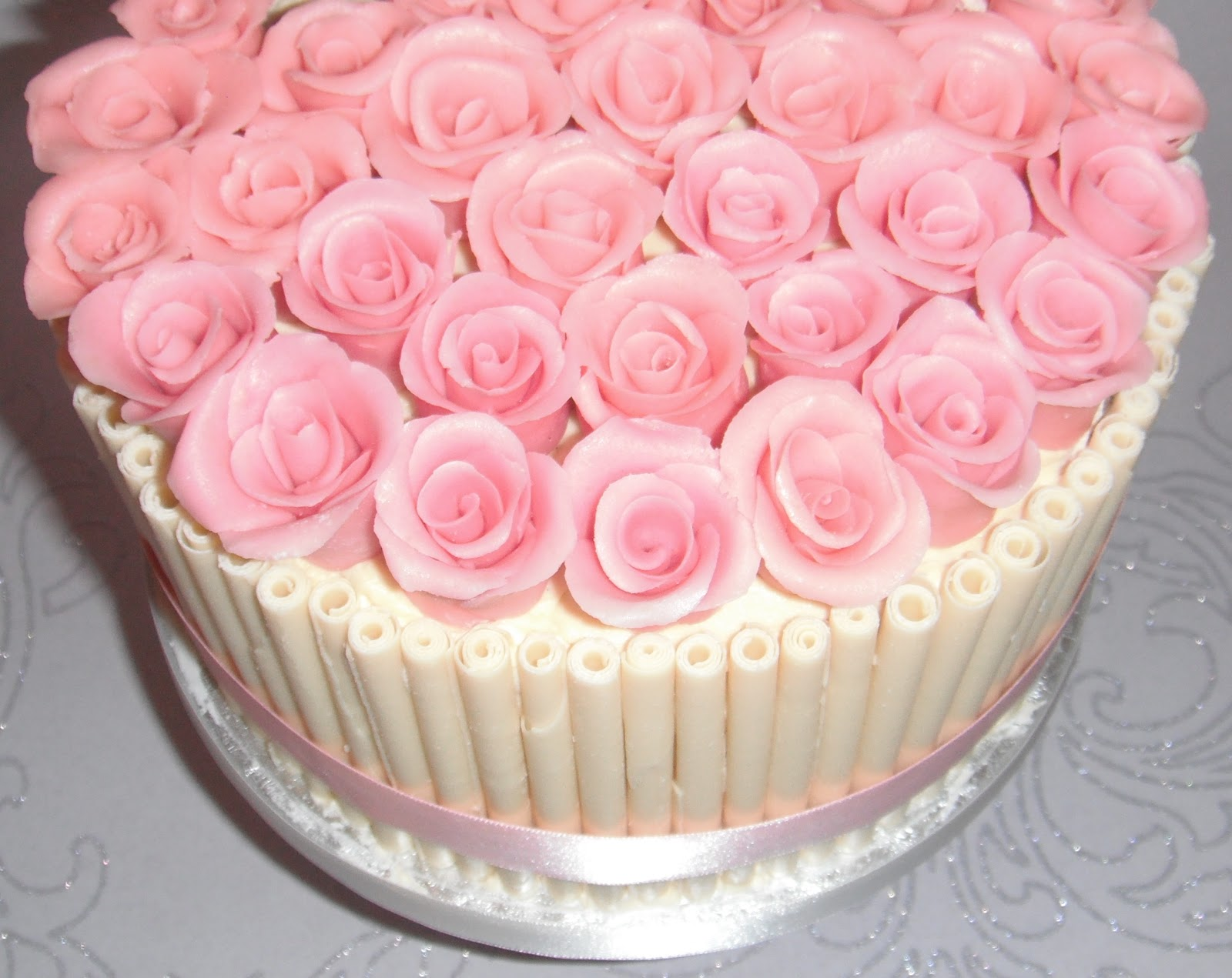 White Chocolate And Pink Roses Birthday Cake